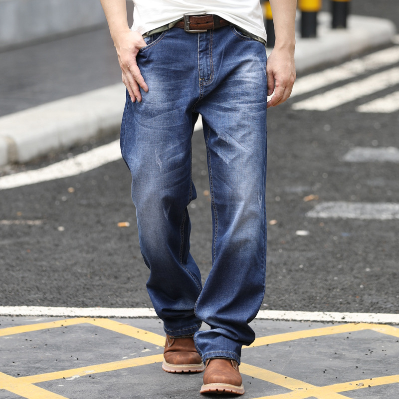 Spring And Autumn Jeans Men's Loose Straight Thin Section Wide Leg Casual Large Size Denim Trousers More Size 28-40 42 44