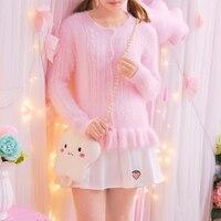Princess Sweet Lolita Sweater Japanese Girl Sweet Soft Sister Wind Plush Falbala Small Sweater Cardigan Mohair