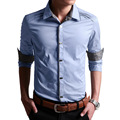2016 New Fashion Personality Buttons Men's Dress Shirt High Quality Solid Color Long-Sleeved Casual Shirt Men Camisa Social