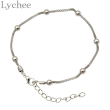 Lychee Vintage Silver Gold Color Anklet Chain Metal Beads Bohemian Ankle Bracelet cheville Boho Beach Foot Jewelry for Women