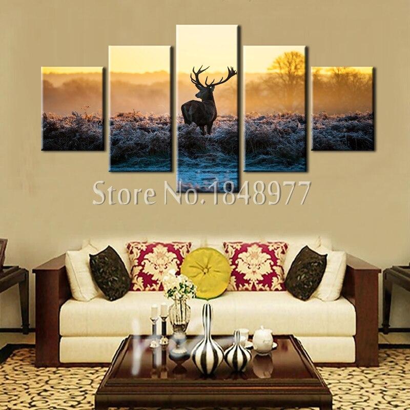 5 Panel Cuadros Modern Wall Art Sunset Animal Elk Moose Picture Home ...