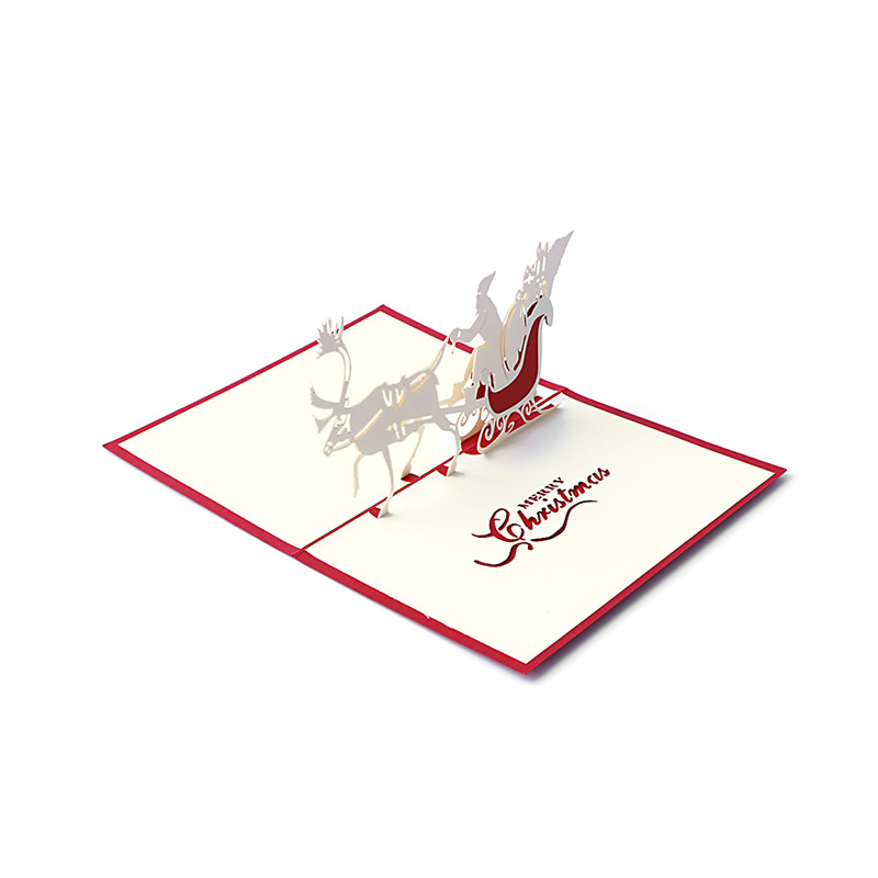 3d Pop Up Santas Sleigh Greeting Card Merry Christmas Wedding Postcard Gift Hot Jewelry & Watches Bands Without Stones