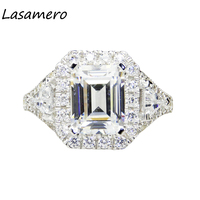 LASAMERO 8 6MM Luxury Emerald Cut Simulated Diamond Engagement Ring 925 Sterling Silver Halo Accents Promise