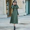 2016 Corea Nuevo Otoño de Moda de Doble Capa Breasted Trinchera Color Sólido Delgado Ocasional Larga Para Mujer Trench Coat Cazadora Femenina