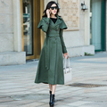 2016 Korean New Fashion Autumn Double Breasted Cape Trench Solid Color Slim Casual Long Womens Trench Coat Female Windbreaker