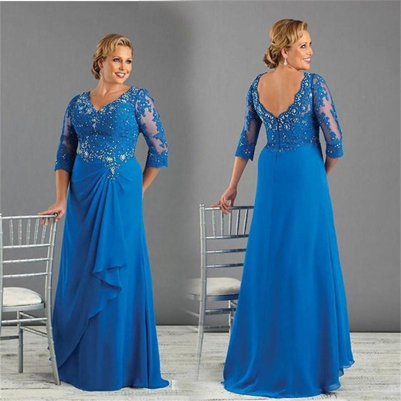 Appliques Beading Chiffon Blue Plus Size Mother Of The Bride Dress With Sleeve 1
