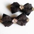 Nuevo Envío Libre hombres de la moda femenina de Corea esquina estilo pajarita diseño exclusivo original Marrón Negro adorno de Diamantes