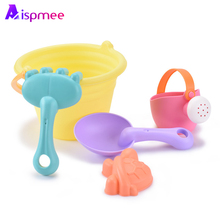 Aispmee Environmentally Soft Silicone beach toys for children Sand Toys Kids Bucket Playset Fun Gift Summer Outdoor Dropshipping