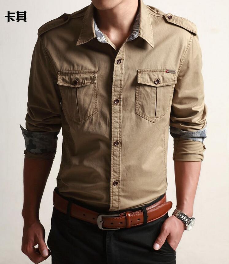 100% Cotton Military Shirt Men (2)