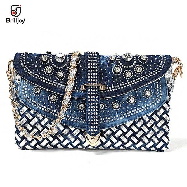 758f17b5d018 Brilljoy 2018 new women s small knitted handbags denim diamond clutch bag  one shoulder Messenger bag chain bags H175-30