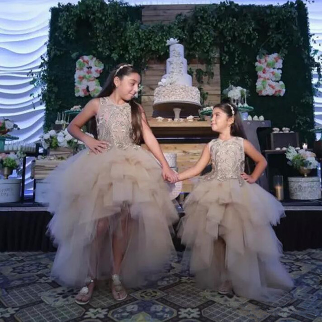 a49ead8b505e Classy High Low Flower Girl Dresses For Weddings Lace Appliqued Kids ...