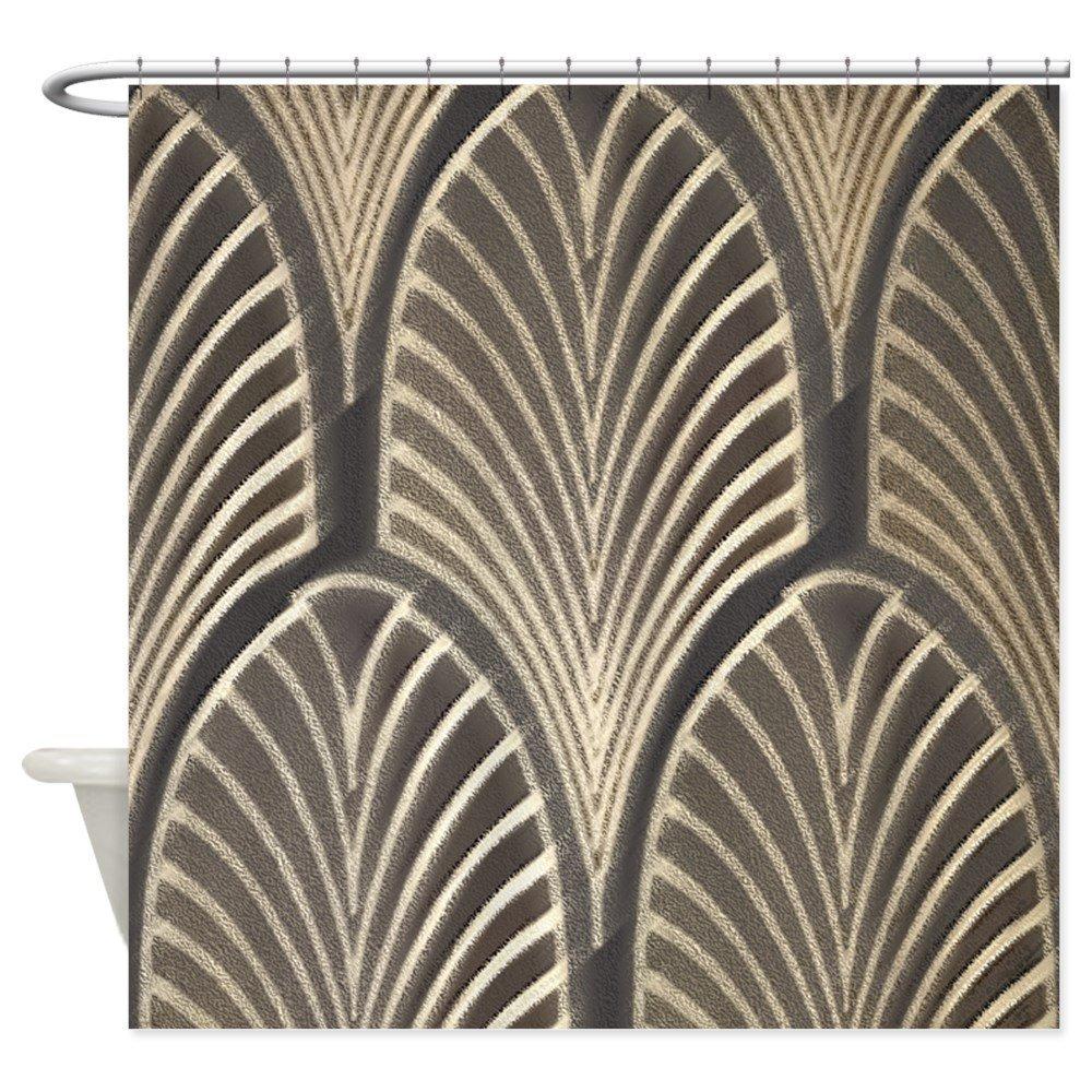 Art Deco Fan Geometric Decorative Fabric Shower Curtain 12 Hooks Curtains Bath Customize Wholesale