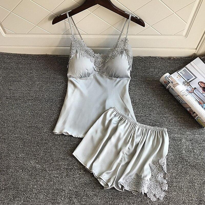 BZEL Pajamas Sets Sleeveless Underwear Silk Satin Sleepwear Sexy Pijama Mujer V-neck Homewear Casual Homewear Pyjamas Women 2PCS