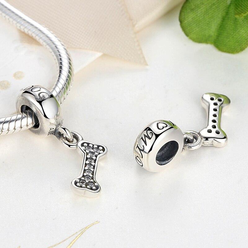 Classic 925 Sterling Silver I Love My Dog,Bone DIY Pendant Fit Pandora Necklace & Bracelet