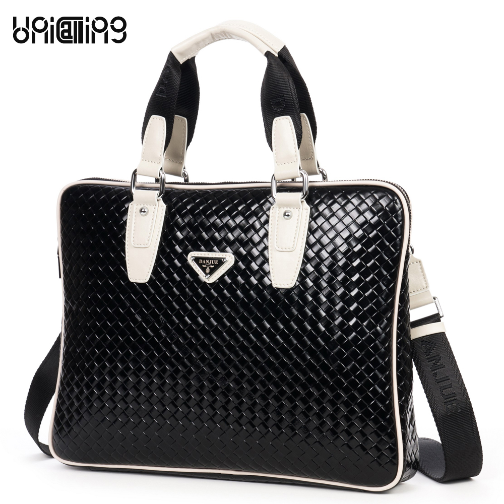 UniCalling knitting pattern high-end quality full grain cowhide leather business tote handbag luxury laptop briefcase bag