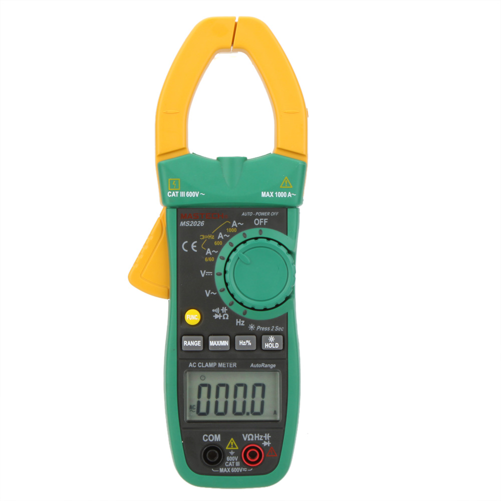 MASTECH MS2026 Auto Range Digital AC Current Clamp Meter Ammeter Voltmeter Ohmmeter w/ Capacitance & Frequency Test