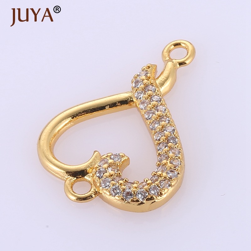 Hand made diy jewelry findings components rhinestone heart pendant charms connectors for fashion jewelry making accessories