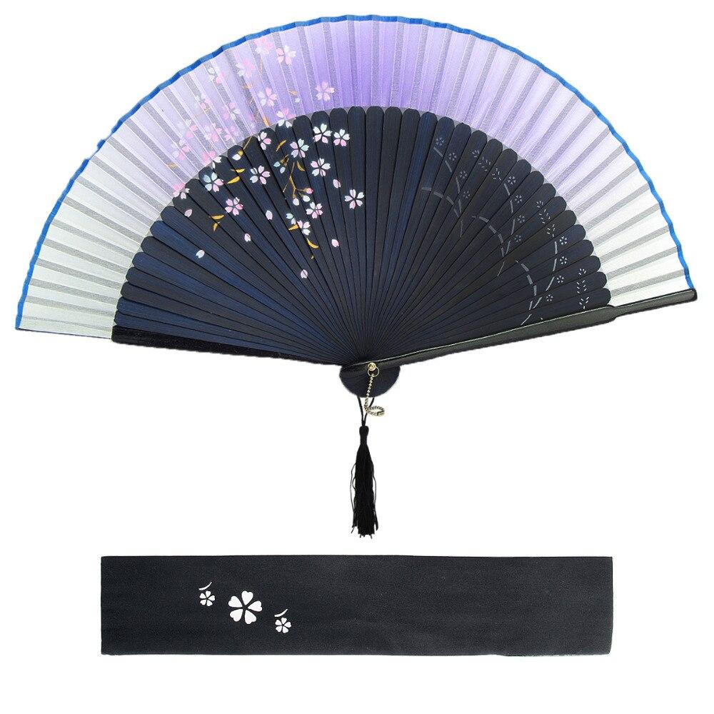 Japanese Cherry Blossom Design Silk Bamboo Frame Handheld Folding ...