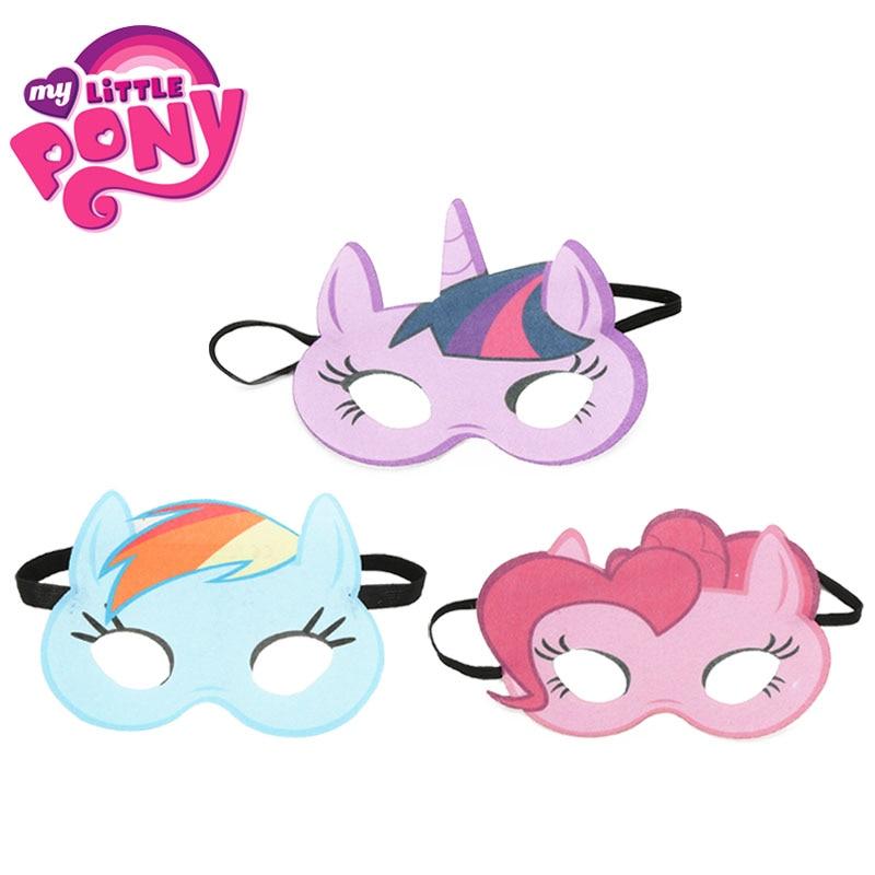 3pcs My Little Pony Toys Masks Cosplay Eye Mask Princess Pinkie Pie Twilight Sparkle Rainbow Dash Costumes Kids Masks Halloween