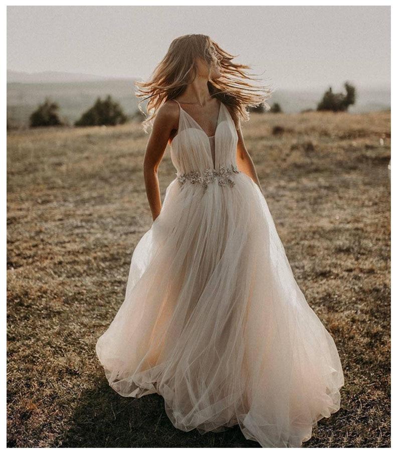 LORIE A Line Wedding Dress 2019 Vestido De Noiva Simple Bridal Dress Puffy Beach Wedding Dresses Lace Top Wedding Gowns