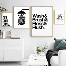 Minimalist Black and White Bathroom Letters Canvas Paintings Wall Art Pictures Nordic Poster Print Home Decorations