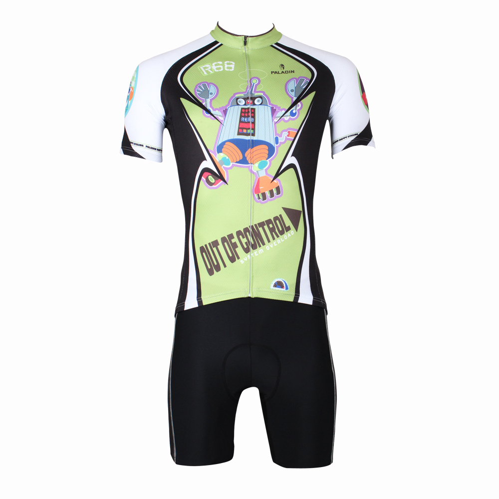CYCLING JERSEYS 2016 Men Out of control R68 Robot top Sleeve Cycling Jersey Green Bicycle Clothing Breathable Cycling Clothes IL 2016 new men s cycling jerseys top sleeve blue and white waves bicycle shirt white bike top breathable cycling top ilpaladin