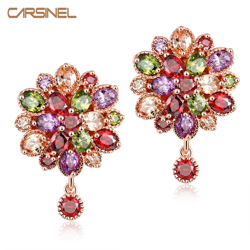 CARSINEL New Fashion Women Wedding Earring Double Sided Colorful Cubic Zircon Stud Earrings Female Piercing Jewelry Accessories(China)