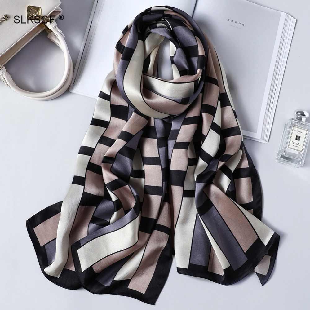 [SLKSCF] 170X53 см Мода 100% шелк атлас хиджабы-шарфы цветочные шелковые шарфы с принтом для женщин новый дизайн длинные шелковые хиджабы накидки
