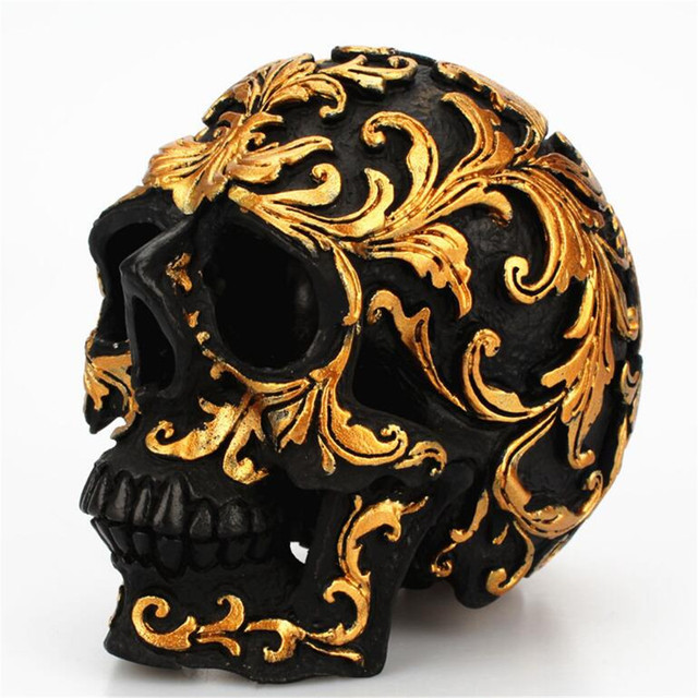 Us 7 08 30 Off Small Size Creative Rose Gold Floral Pattern Skull Ornaments Halloween Party Home Decorations Art Statue 301 0727 In Statues