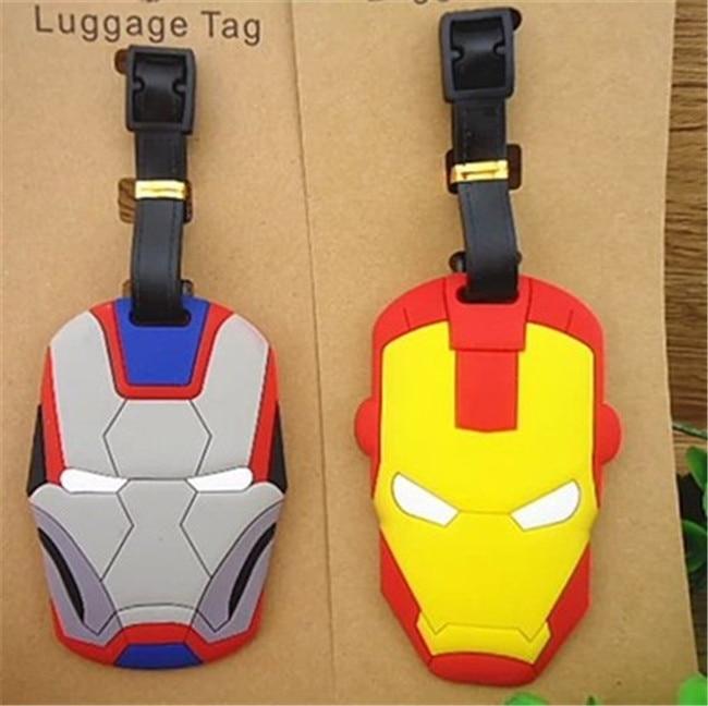 20 pcs/set Iron Man Movie super hero luggage tag Ironman PVC pendants fashion suitcase decoration free shipping