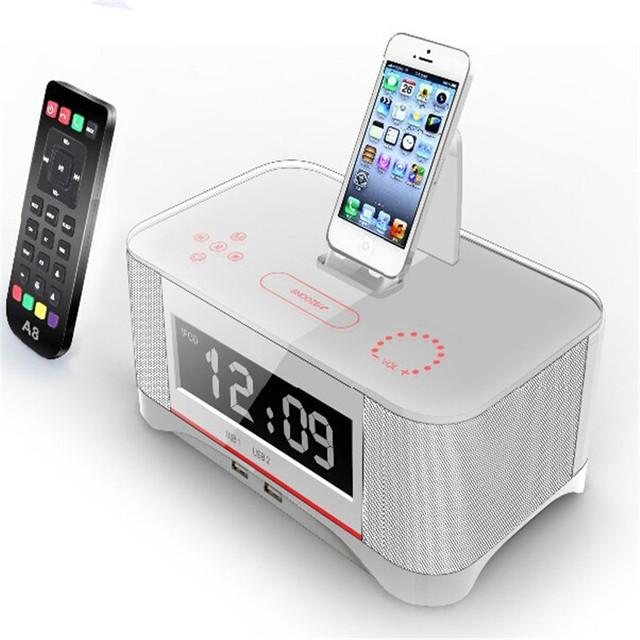 Nova vinda de multi-função para iphone 6 6 s alarme docking station speaker a8 com avançado nfc para iphone samsung