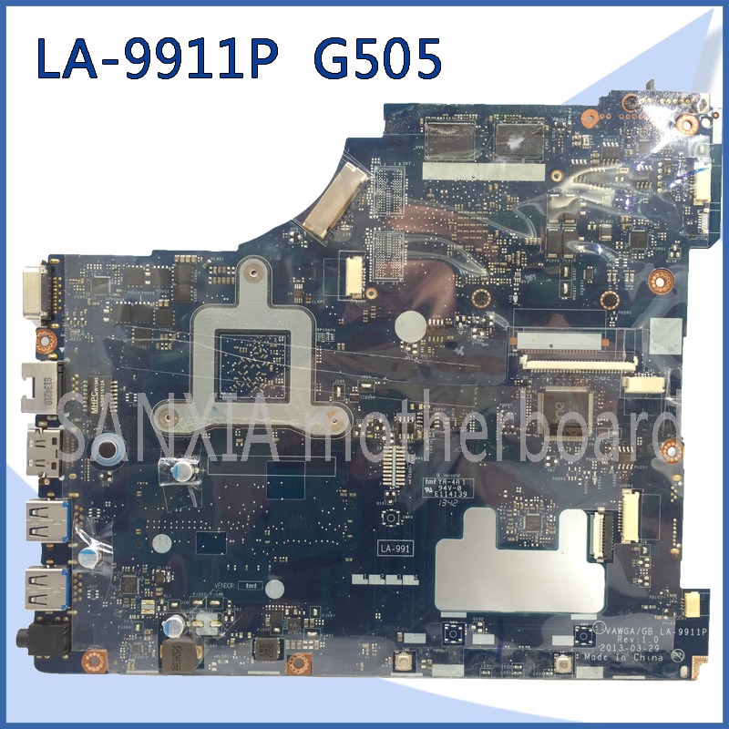 SHELI original LA-9911P laptop motherboard for Lenovo G505 motherboard tested mainboard E1 CPU VAWGA/GB LA-9911P main board sheli aclu1 aclu2 nm a272 laptop motherboard for lenovo g50 70 motherboard nm a272 motherboard i3 cpu tested original notebook