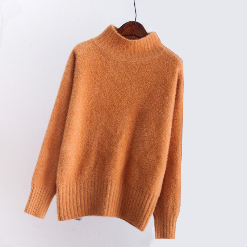 winter sweater women high collar velvet knitting sweater female sweater 2018 autumn winter pink bottoming warm pullover QH0629