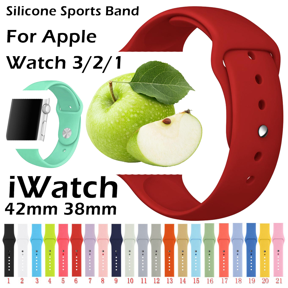 Silicone for apple watch band Series 1/2/3 42mm 38mm Watch band Bracelet Strap for iWatch 4 40mm 44mm sports band smart Wrist 42mm 38mm for apple watch s3 series 3