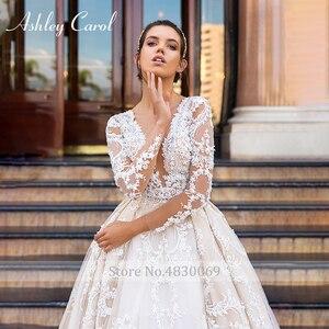 Image 3 - アシュリーキャロル高級ビーズレースプリンセスウェディングドレス 2020 v ネック長袖 a ラインカスタマイズされたウェディングドレス vestido デ · ノビア