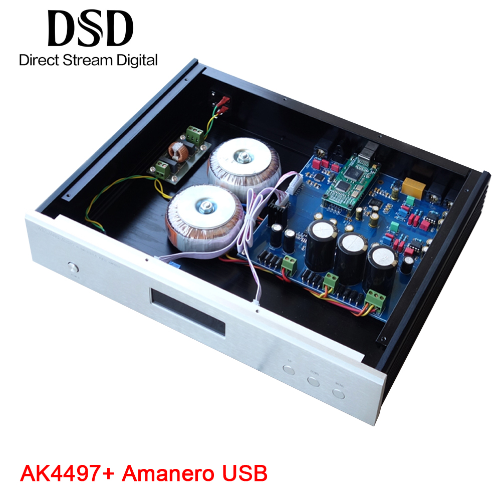 weiliang audio DC100 Amanero USB DAC AK4118 AK4497 Decoder DSD Audio Amplifier breeze audio dsd usb dac es9018k2m xmos u8 op275 2 lm49860 class a earphone decoder i2s dsd usb audio amplifier amp