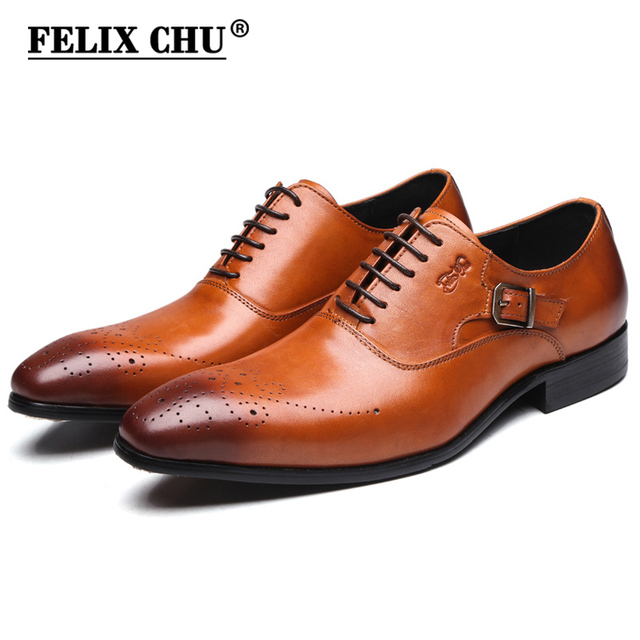 Felix Chu Brand Men Lace Up Brogue Oxford Genuine Leather Formal Dress Brown Shoes Office Party