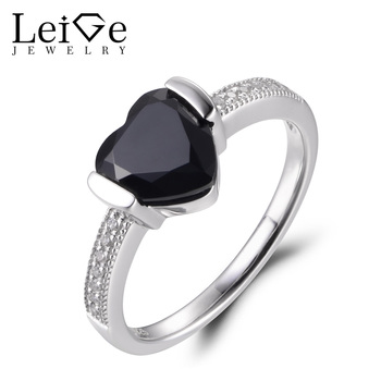 LeiGe Jewelry Natural Black Spinel Rings Promise Ring Heart Cut Black Gemstone Ring 925 Sterling Silver Romantic Gifts for Women