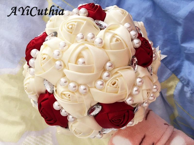 AYiCuthia 1Piece Custom Cream Ivory Artificial Flowers Bridal Bouquets Stunning Crystal Stitch Bridesmaid Wedding Bouquets S44