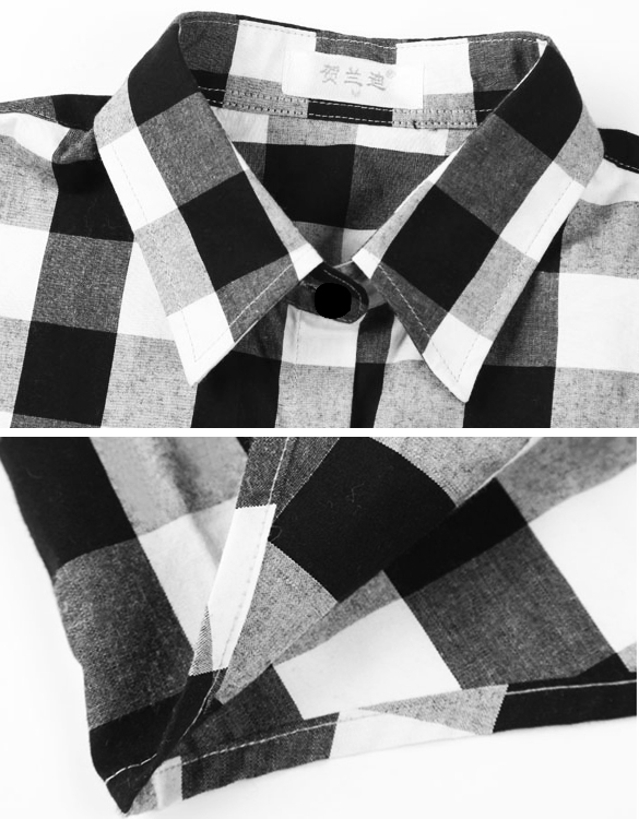 FANALA Shirt Women Blouse 2017 Tops Blusas Female Plaid Shirts Loose Cotton  Blouses Women Long Sleeve Leisure Black And White - Shirt Women Blouse 2017 Tops Blusas Female Plaid Shirts Loose