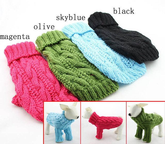 cdc45dd85b51 Dog's Turtleneck Cable Sweater Pet Dog Clothes Puppy Long-Sleeve Handmade  Knitted Winter and Autum Sweater Free Shipping