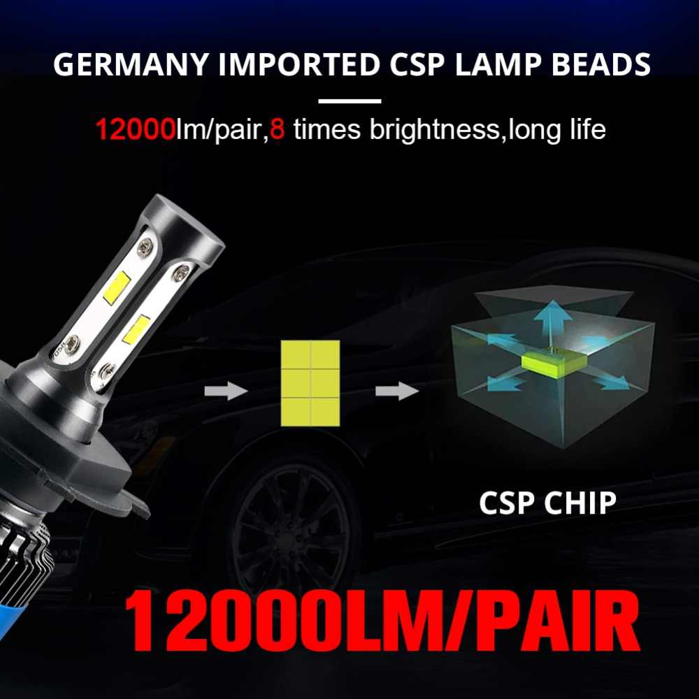 Aceersun H7 LED H4 LED H11 Car Light Canbus Headlight Bulb 12000LM canbus H8 H9 H1 HB3 9005 9006 80W 6500K 12V 24V Auto HB4 Led