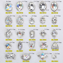 цена на 100Pcs 24choice Strass Nail Art Rhinestone Charm Clear AB Alloy Nail Crystal Decorations 3D Mix Designs Manicure Tools 1911-1934