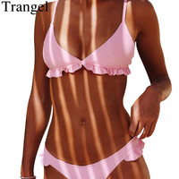 Trangel Summer 2018 Pink Bikini Set Women Swimwear Solid Color Swimsuit Padded Swimming Suit Sexy Brazilian