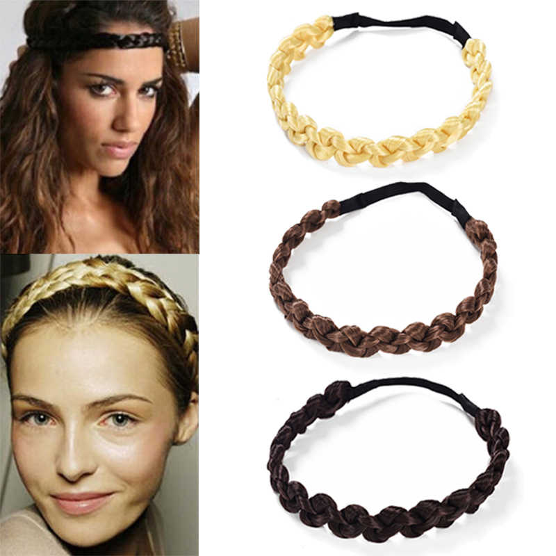 MISM 2CM Wig Headband Braids Hair Accessories Women Hairstyle Plait Braided Hair Band Girls Elastic Hairband Female Headwear