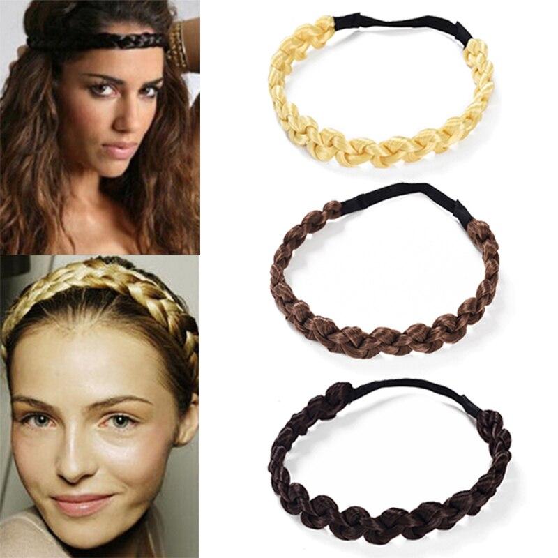 MISM 2CM Wig Headband Braids Hair Accessories Women Hairstyle Plait Braided Hair Band Girls Elastic Hairband Female Headwear fishtail braid with hair accessory