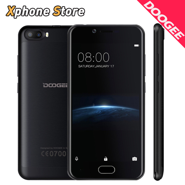 Original Doogee Shoot 2 Mobile Phones 2GB+16GB Quad Core 5.0 inch Android 7.0 Cell Phone 5MP Dual Cameras Fingerprint Smartphone