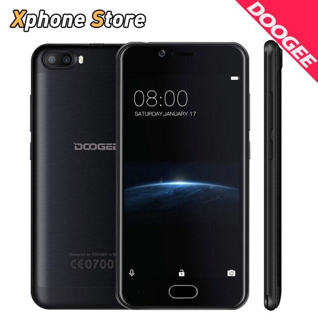 Original Doogee Shoot 2 Mobile Phones 2GB+16GB Quad Core 5.0 inch Android 7.0 Cell Phone 5MP Dual Cameras Fingerprint Smartphone