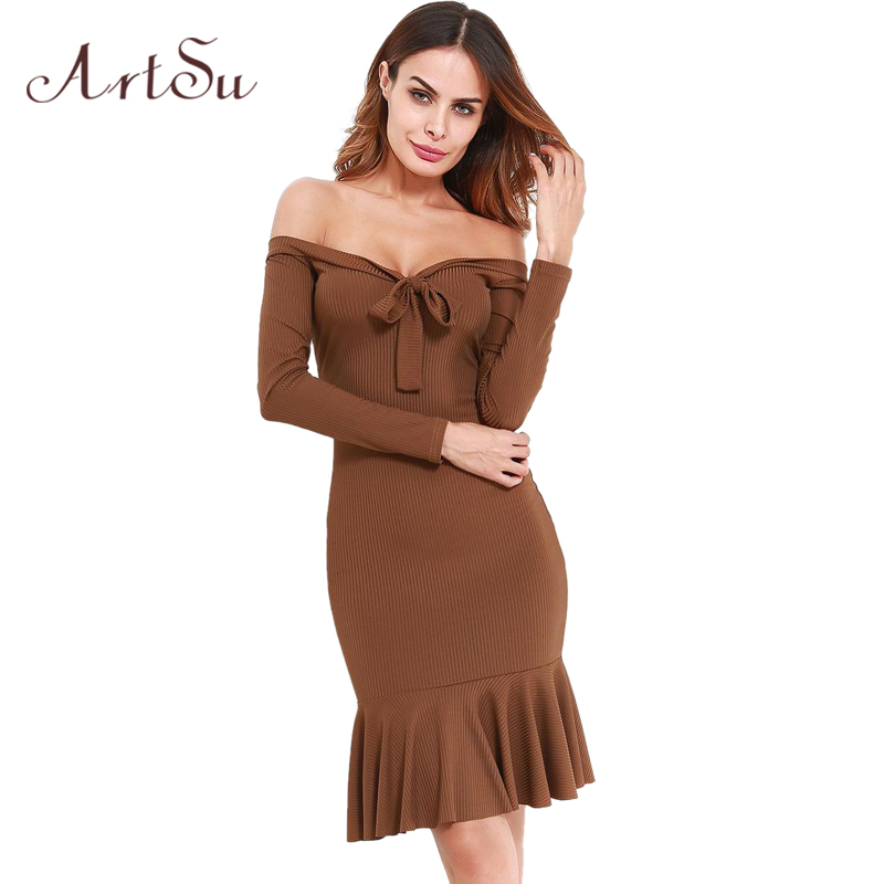 ArtSu Fashion Women Sexy Strapless Bow Lace Up Dresses Long Sleeve Ruffle Knitted Midi Dress Party Vestido De Festa ASDR30439