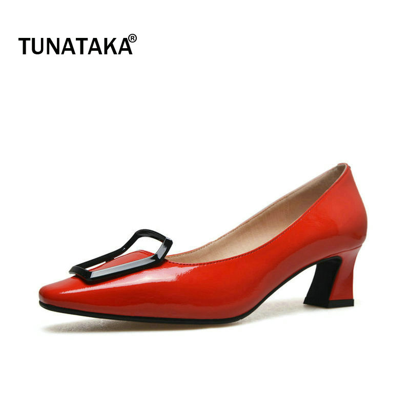 Genuine Leather Comfort Hoof Heel Woman Lazy Pumps Fashion Square Toe Shallow Dress High Heel Shoes Woman Black Red Yellow genuine leather thick high heel woman slingbacks pumps fashion square toe dress lazy high heel shoes ladies black white